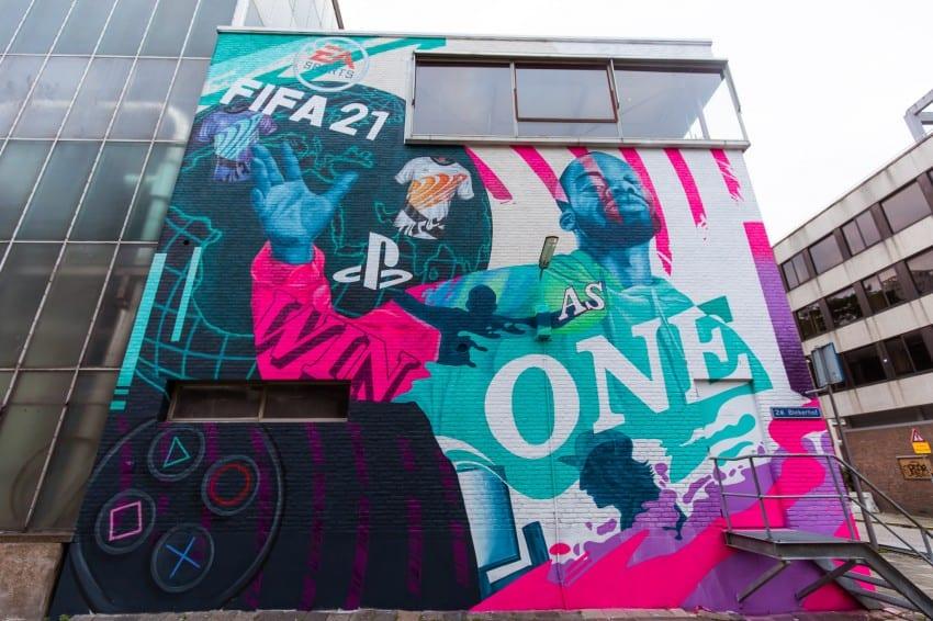 EA SPORTS en Playstation onthullen speciale muurschildering in Rotterdam