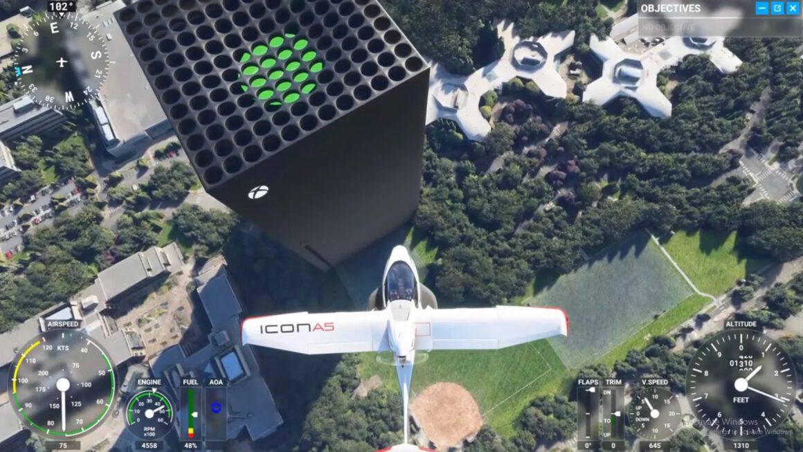 Xbox Series X als wolkenkrabber gespot in Flight Simulator