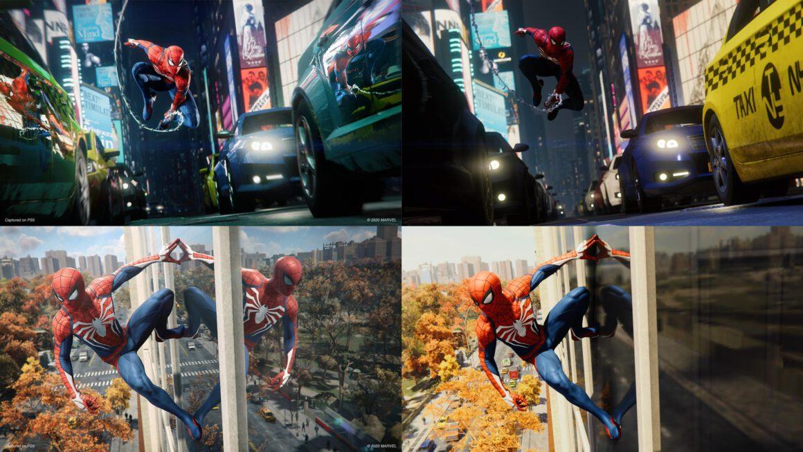 Grafische vergelijking Spider-Man Remastered voor PS4 en PS5